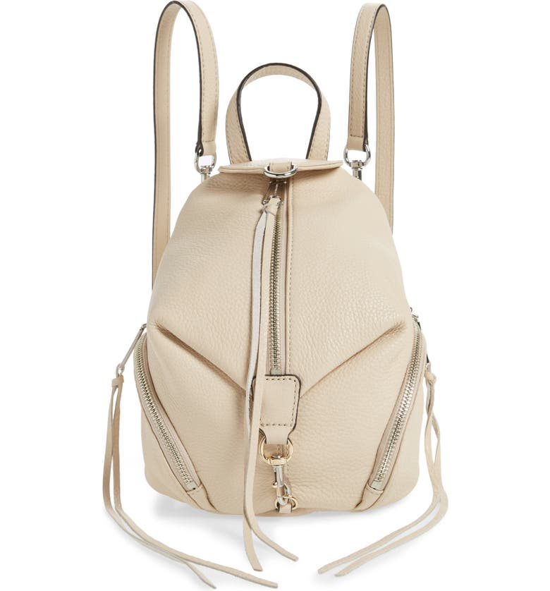 REBECCA MINKOFF Mini Julian Pebbled Leather Convertible Backpack, Main, color, CLAY
