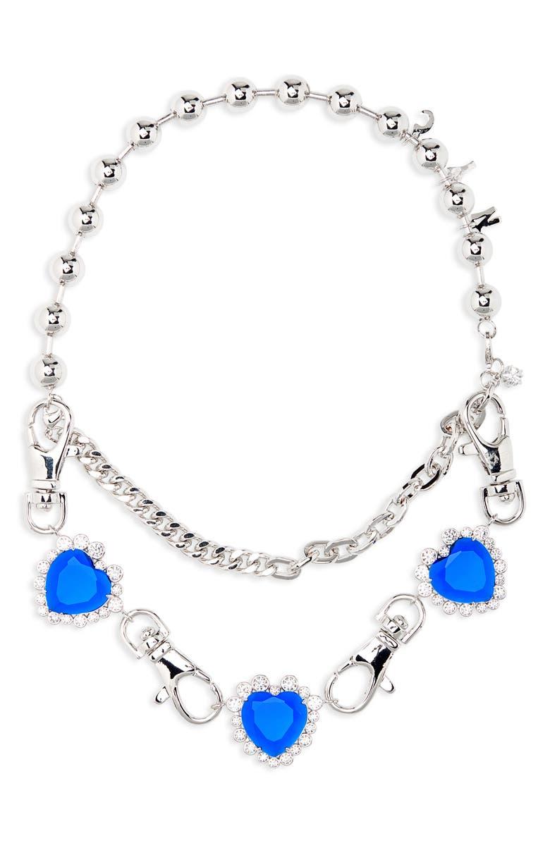 JIWINAIA NYC Heart Necklace, Main, color, RHODIUM