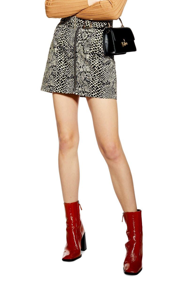 TOPSHOP Snake Print Buckle Denim Skirt, Main, color, 900