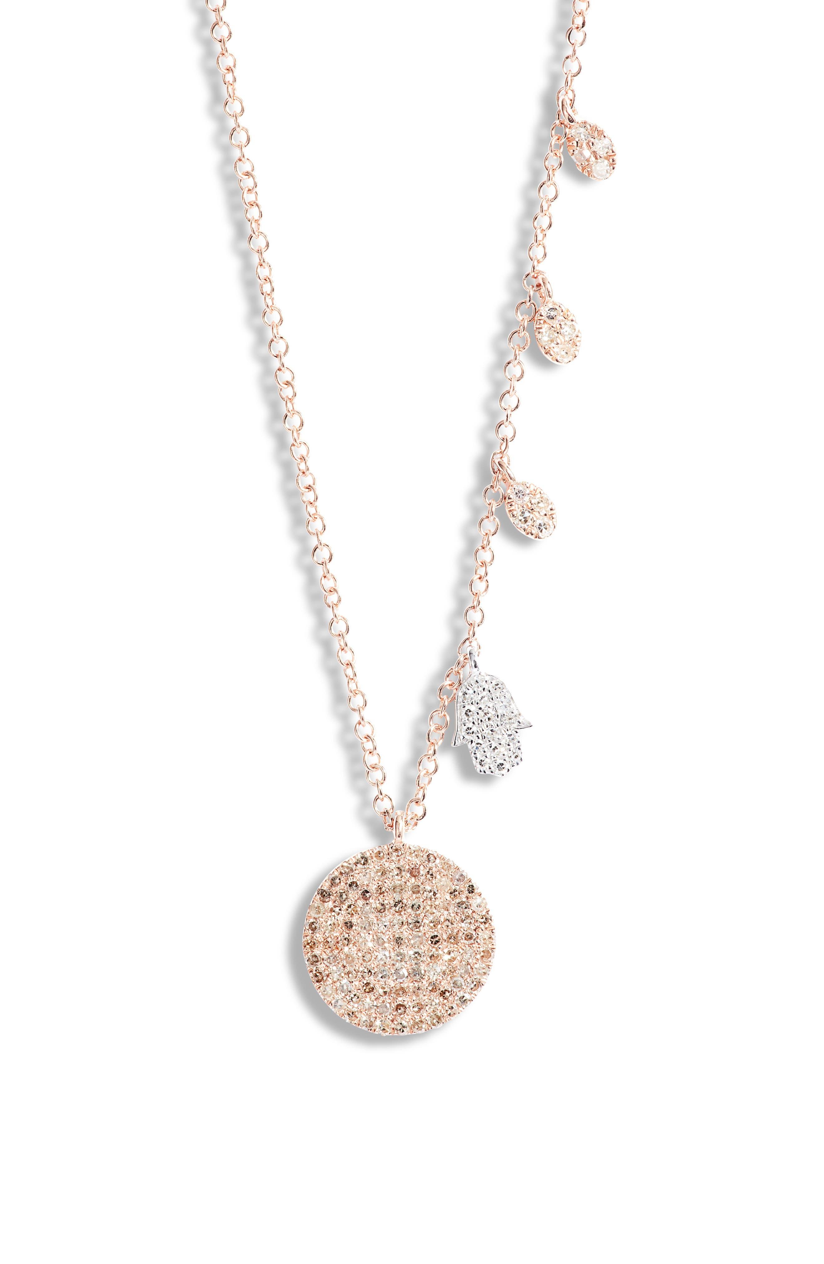 Diamond Pave Disc & Hamsa Necklace