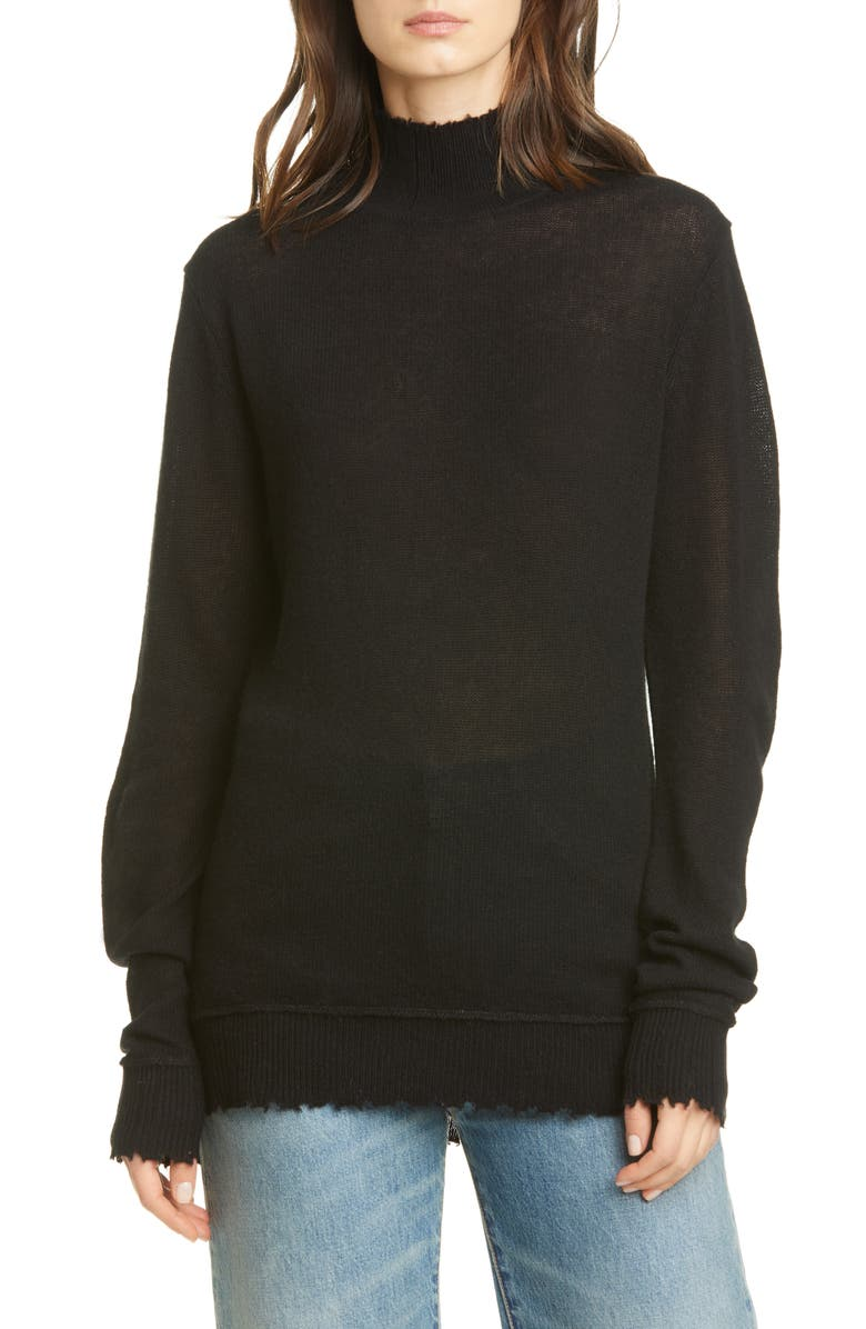 R13 Distressed Cashmere Sweater, Main, color, BLACK