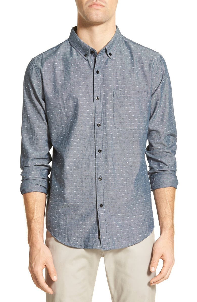 UNITED BY BLUE 'Osprey' Trim Fit Print Chambray Sport Shirt, Main, color, 400