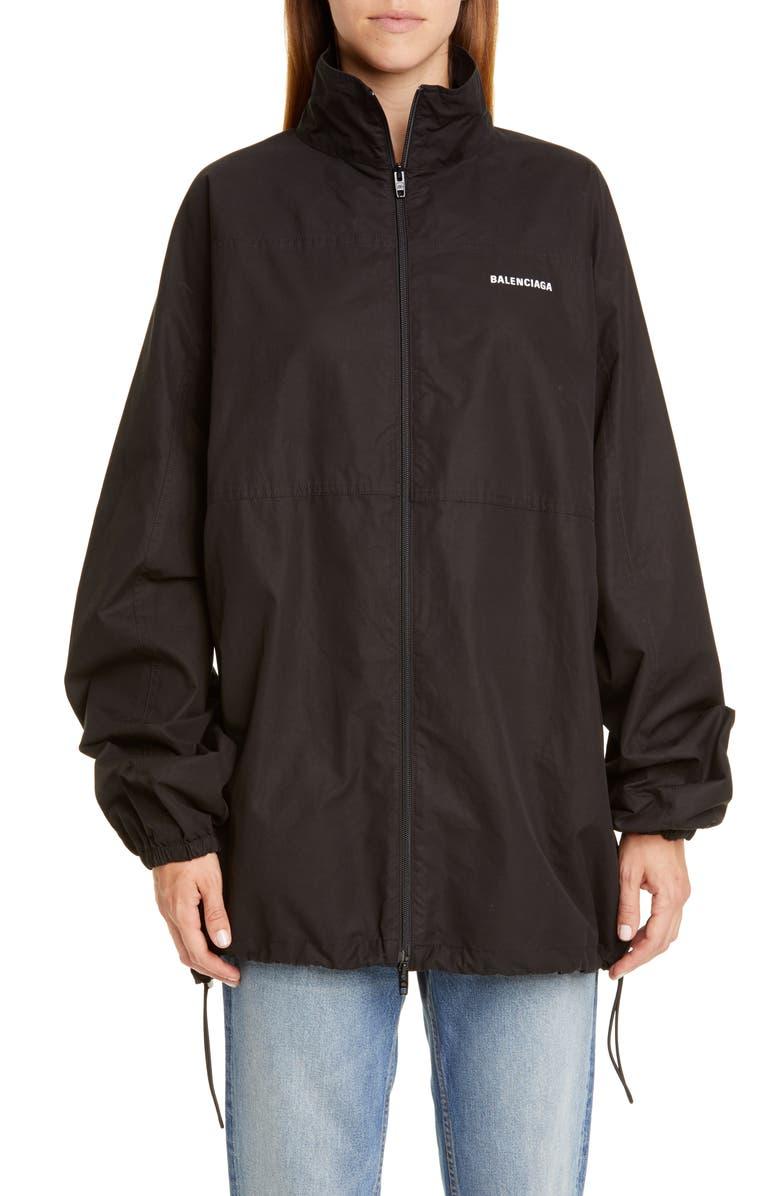 BALENCIAGA Logo Embroidered Cotton Poplin Jacket, Main, color, BLACK