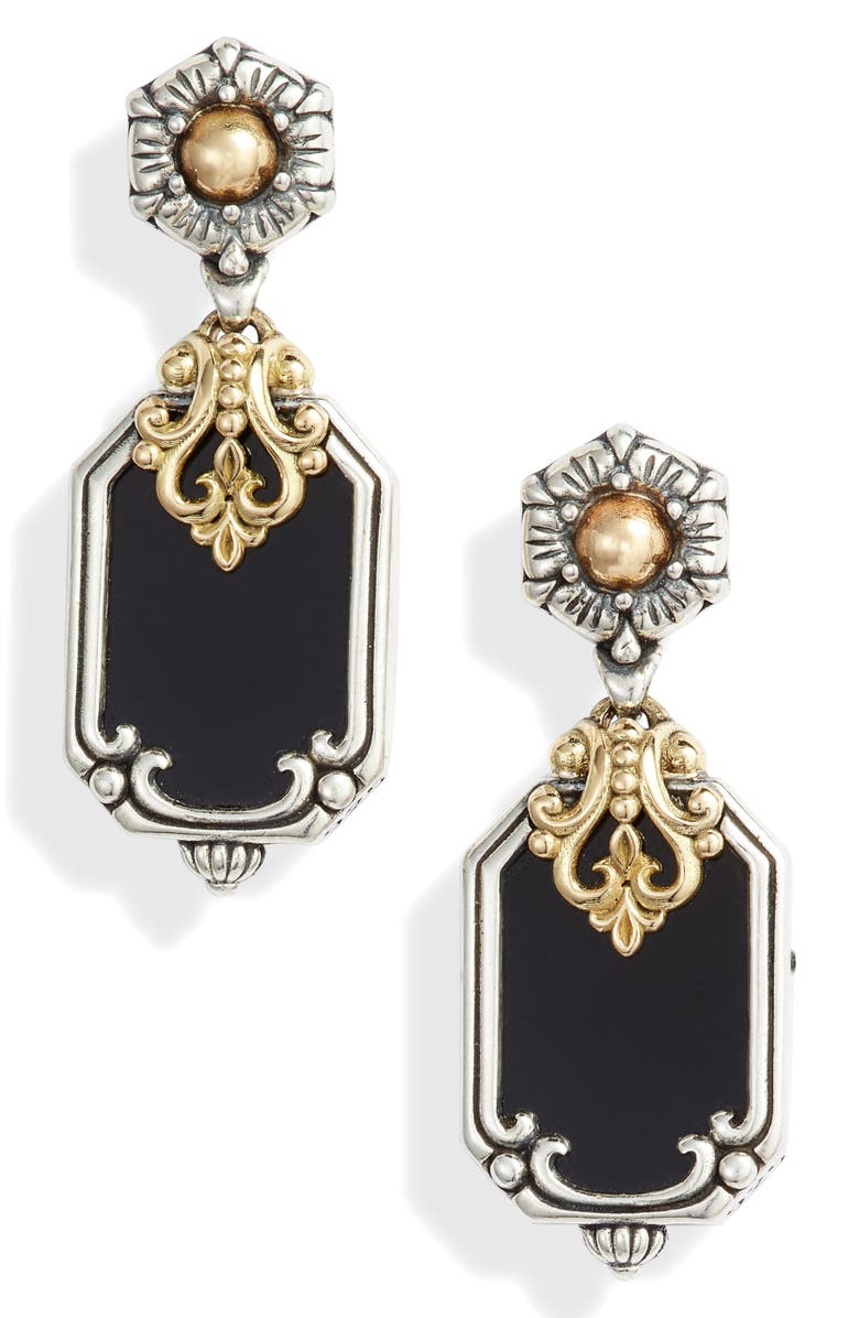 KONSTANTINO Calypso Shield Drop Earrings, Main, color, SILVER/ GOLD/ ONYX