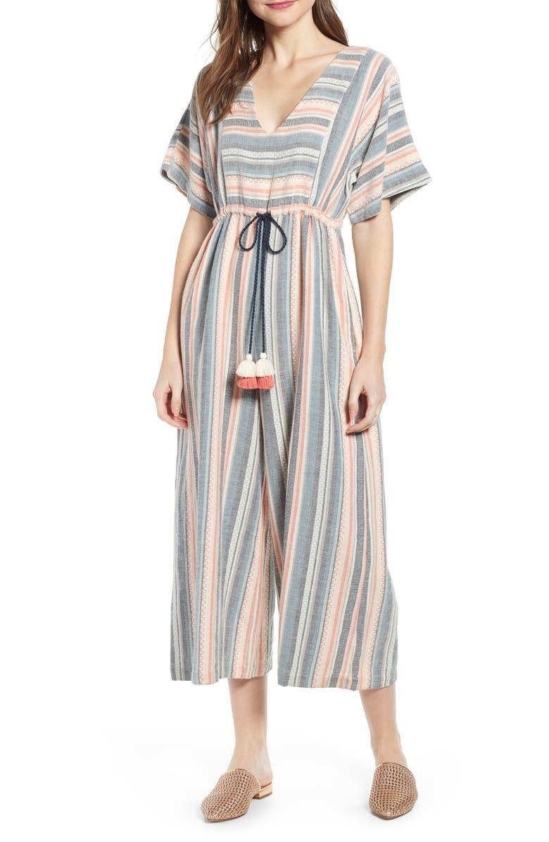 THE ODELLS Monroe Stripe Crop Wide Leg Jumpsuit, Main, color, LILIANA