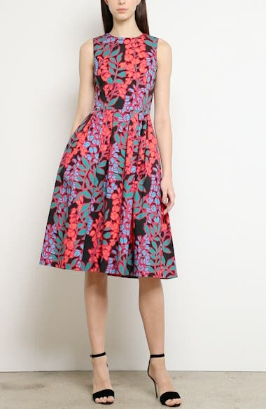 Wisteria Print Fit & Flare Dress, video thumbnail