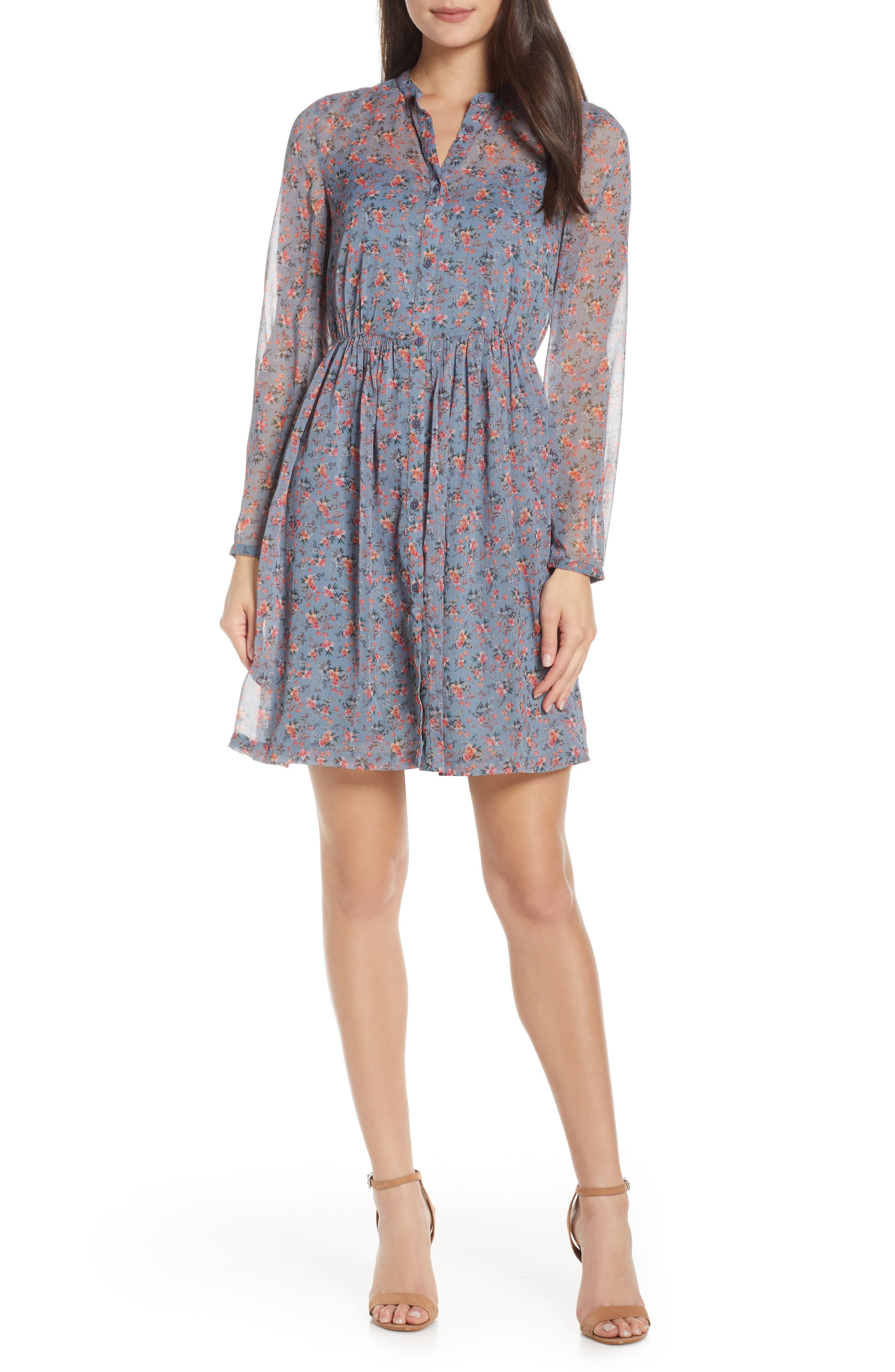 French Connection Fifine Long Sleeve Crinkle Dress, Blue