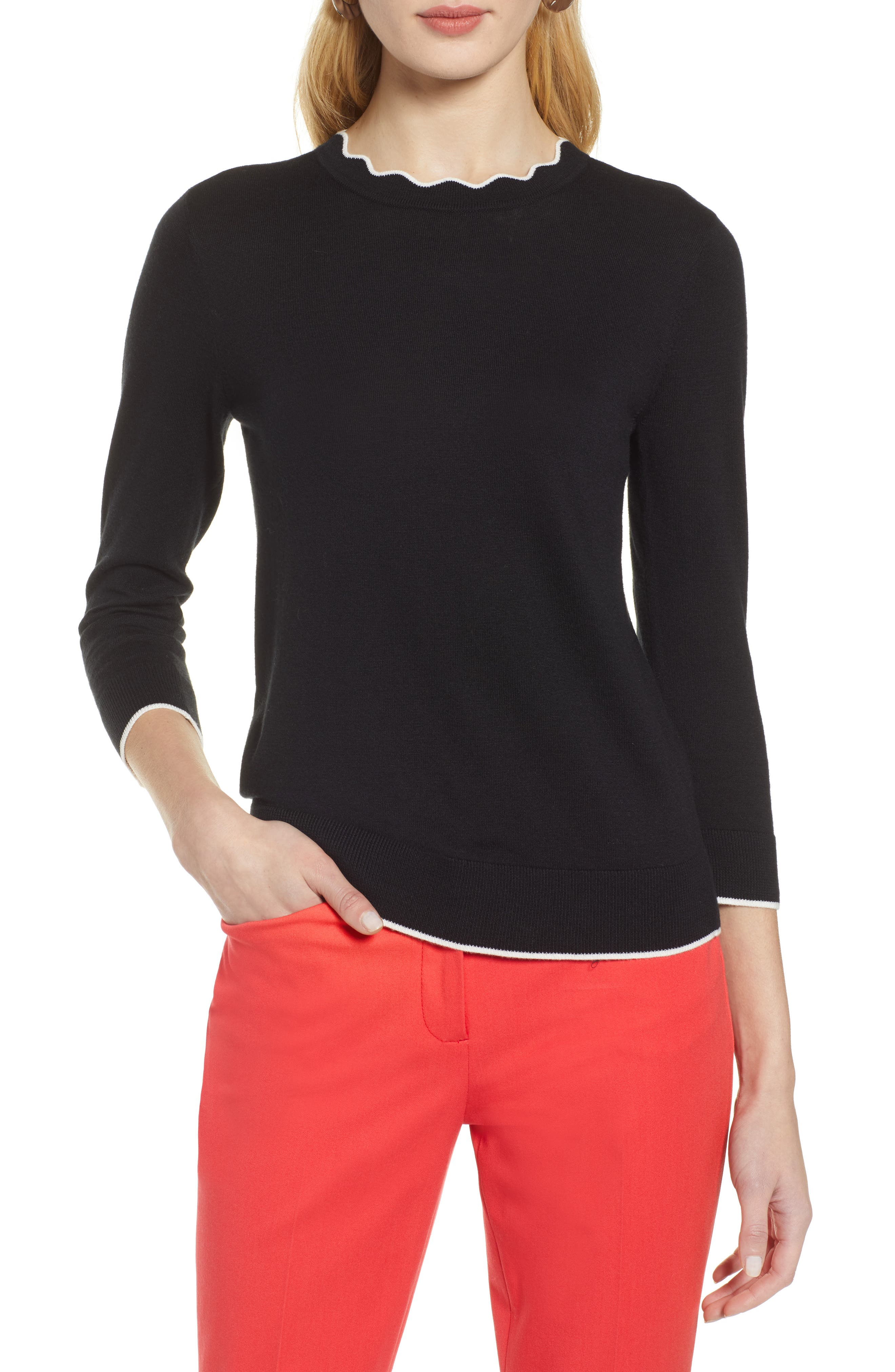 ,                             Scallop Neck Sweater,                             Main thumbnail 7, color,                             001