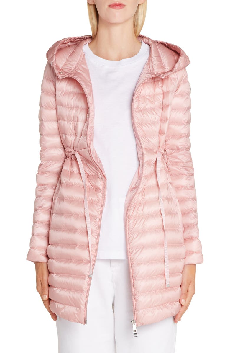 MONCLER Barbel Tie Waist Hooded Lightweight Down Coat, Main, color, LIGHT PINK