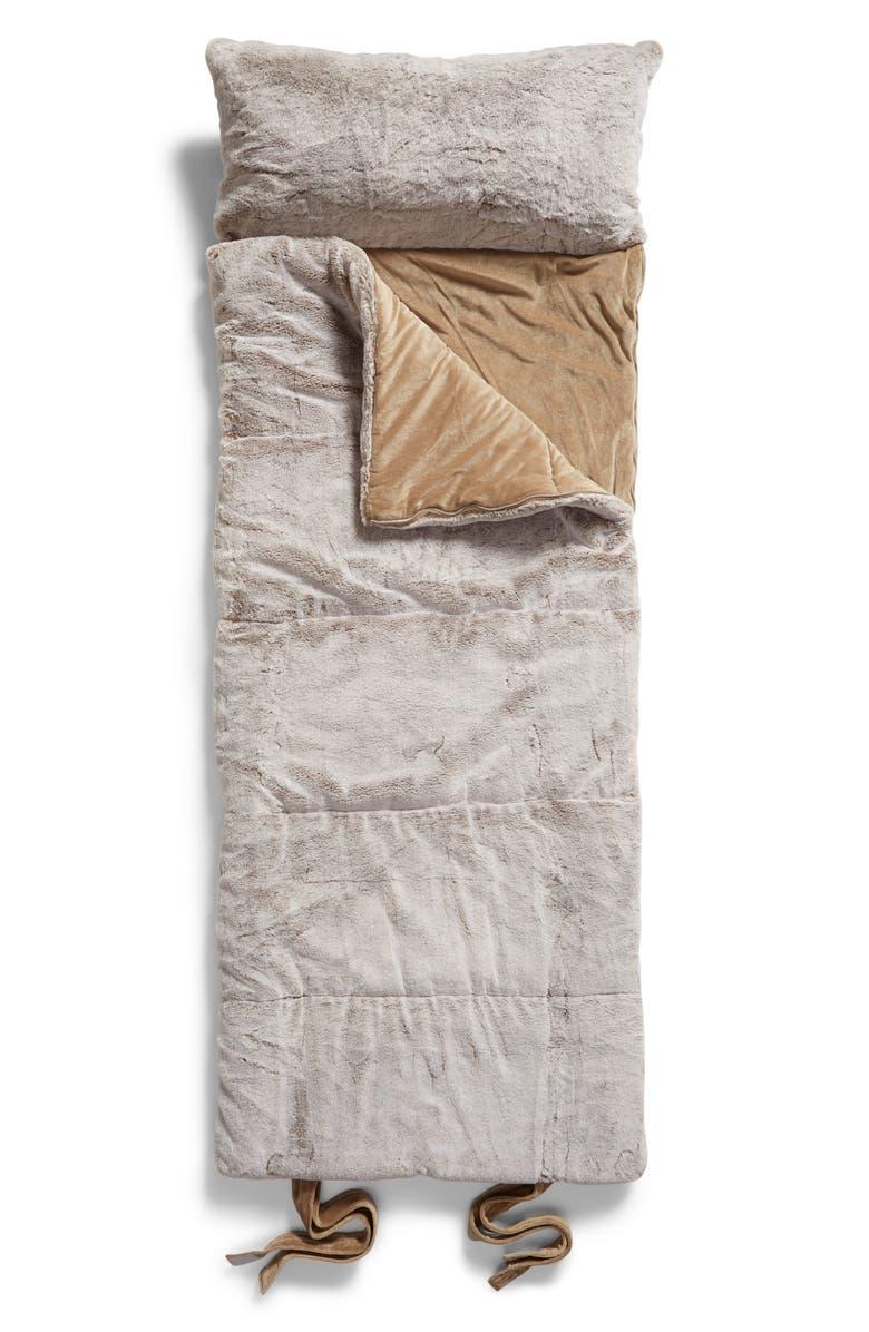 NORDSTROM Faux Mink Fur Slumber Bag, Main, color, TAN GREIGE
