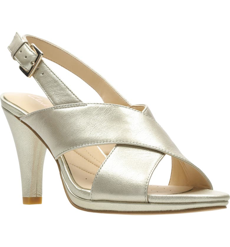 CLARKS<SUP>®</SUP> Lotus Sandal, Main, color, CHAMPAGNE LEATHER
