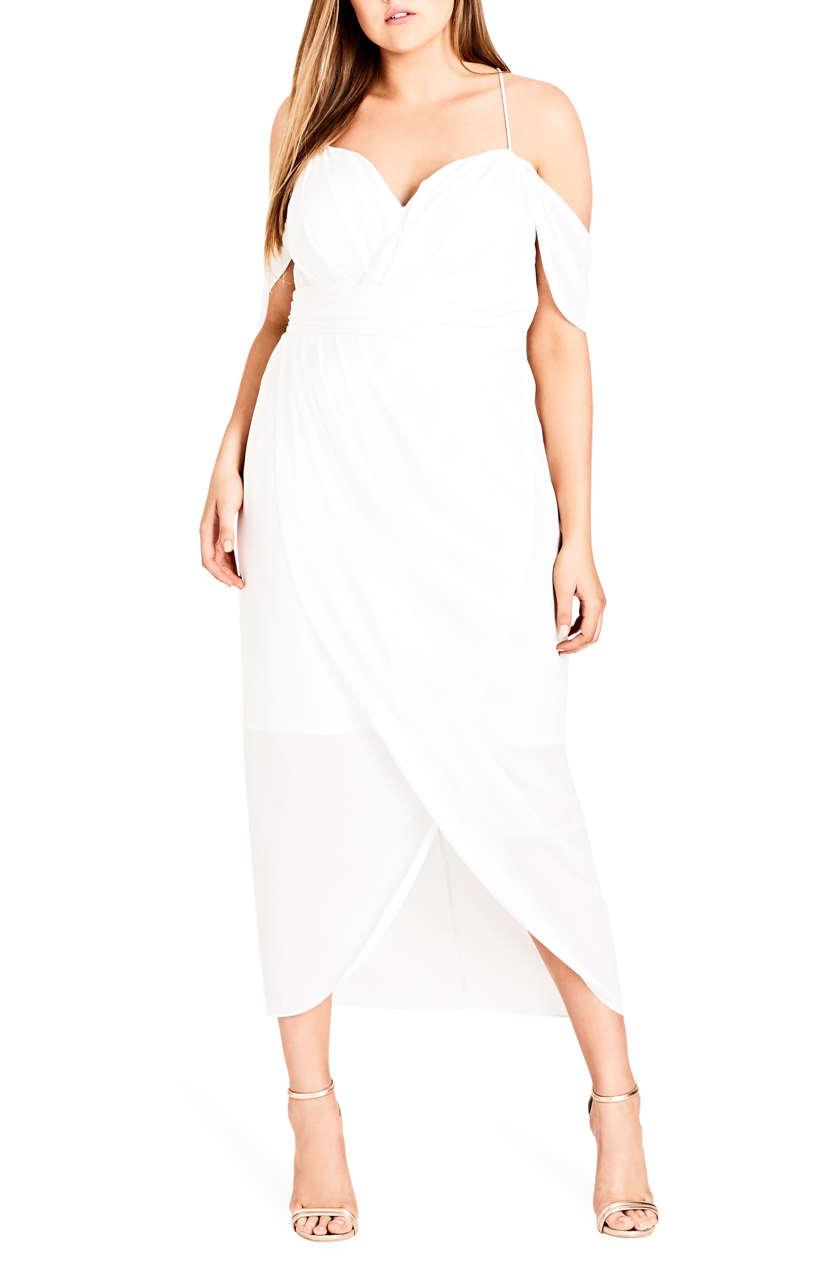 Plus Size City Chic Entwine Cold Shoulder Maxi Dress