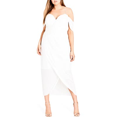 Plus Size City Chic Entwine Cold Shoulder Maxi Dress, Ivory