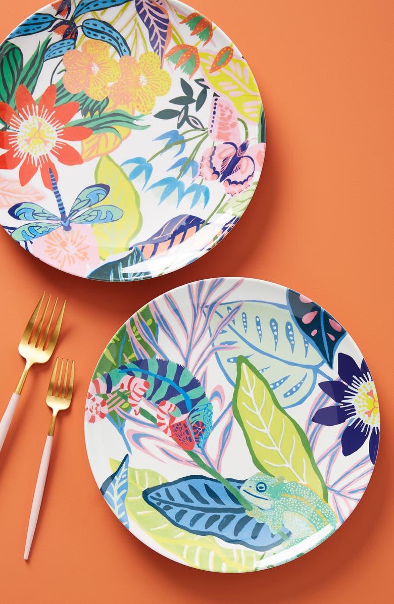 ANTHROPOLOGIE Tropical Melamine Dinner Plate, Main, color, PINK CHAMELEON