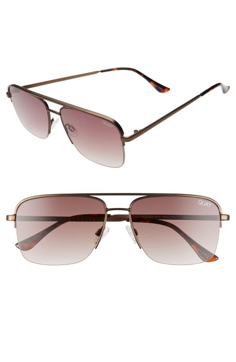 QUAY AUSTRALIA Poster Boy 47mm Gradient Semi Rimless Navigator Sunglasses, Main, color, MATTE BRONZE/ BROWN