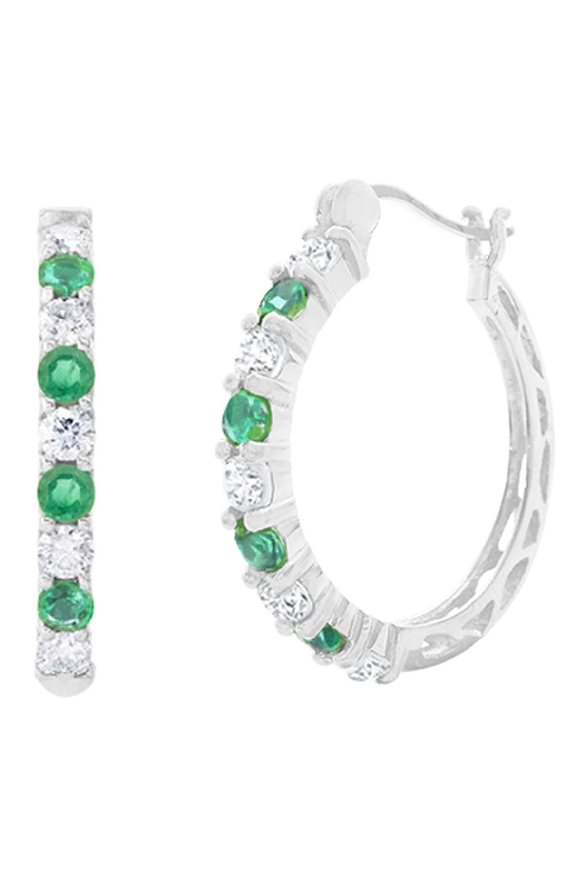 Image of Savvy Cie Sterling Silver Emerald & White Topaz 16mm Hoop Earrings