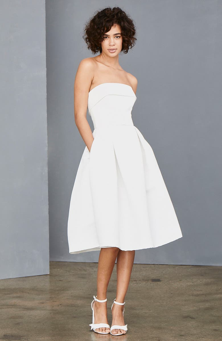 AMSALE Strapless Faille A-Line Dress, Main, color, 100