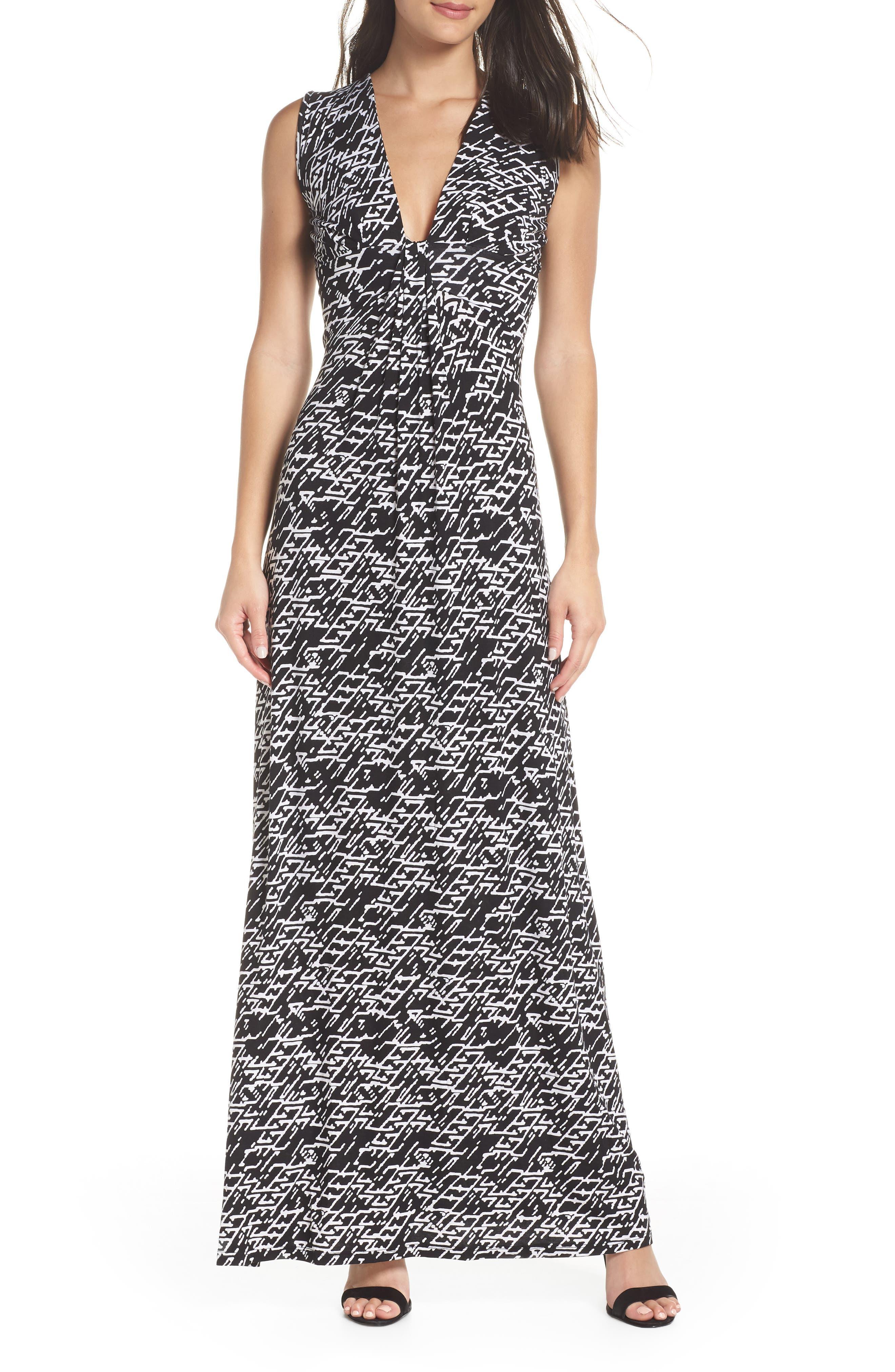 Plunge Neck Maxi Dress, Main, color, 005