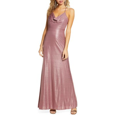 Morgan & Co. Cowl Neck Shimmer Gown, Pink