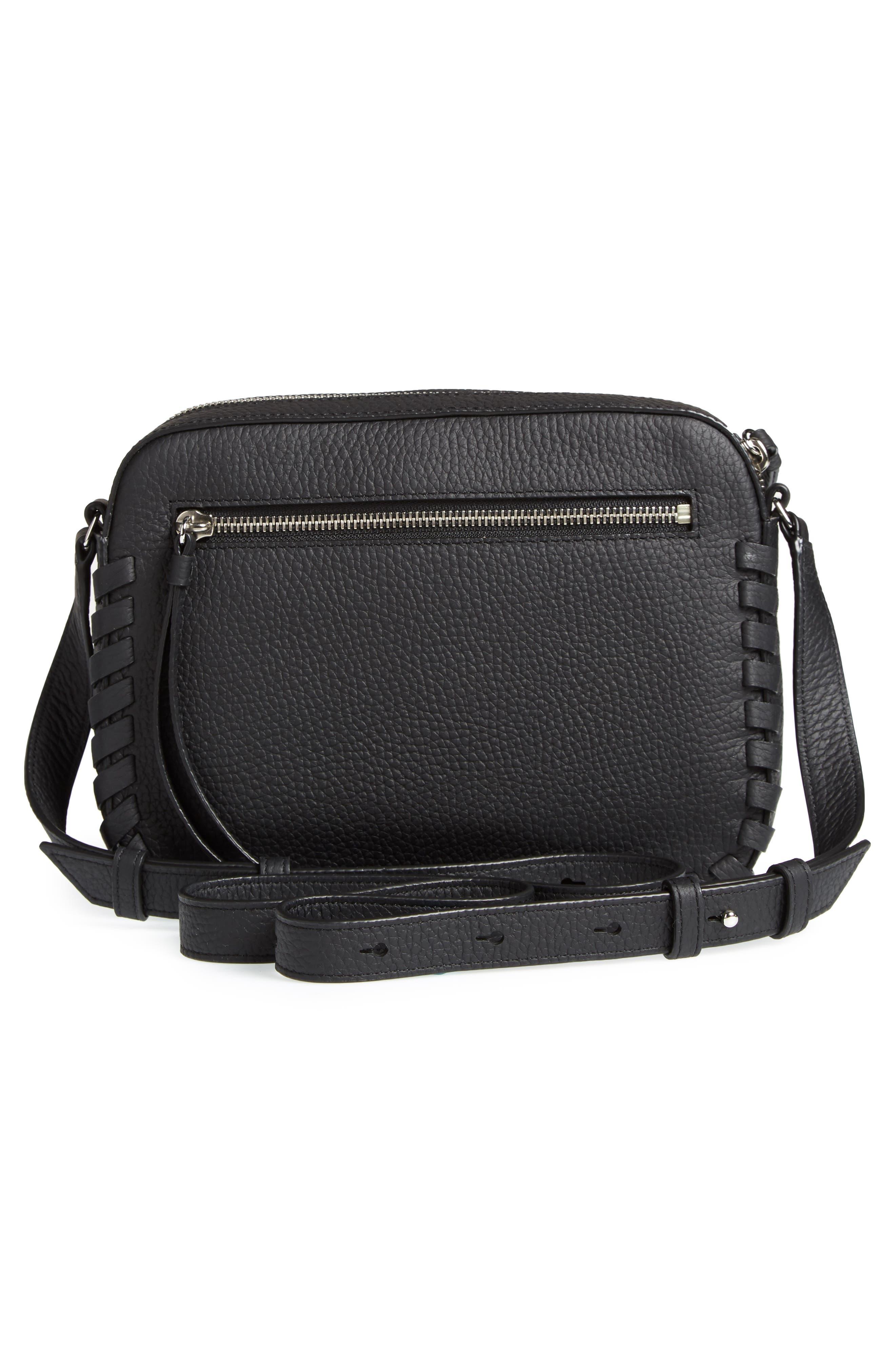,                             Kepi Mini Leather Crossbody Bag,                             Alternate thumbnail 4, color,                             BLACK