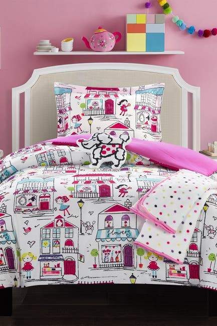"Image of Chic Home Bedding Full Universal Colorful ""Quaint Town"" Theme Printed Comforter Set - Pink"