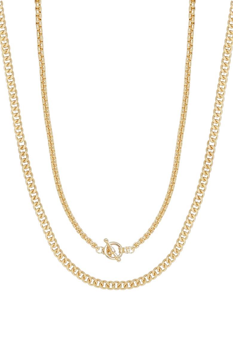 ETTIKA Set of 2 Layering Necklaces, Main, color, GOLD