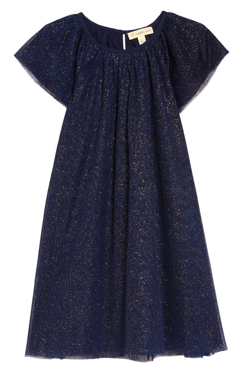 TUCKER + TATE Sparkle Tulle Dress, Main, color, NAVY PEACOAT SPARKLE