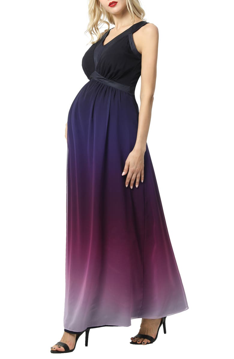 KIMI AND KAI Valencia Ombré Maternity Maxi Dress, Main, color, MULTICOLORED