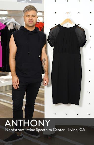 Illusion Short Sleeve Crepe & Chiffon Dress, sales video thumbnail