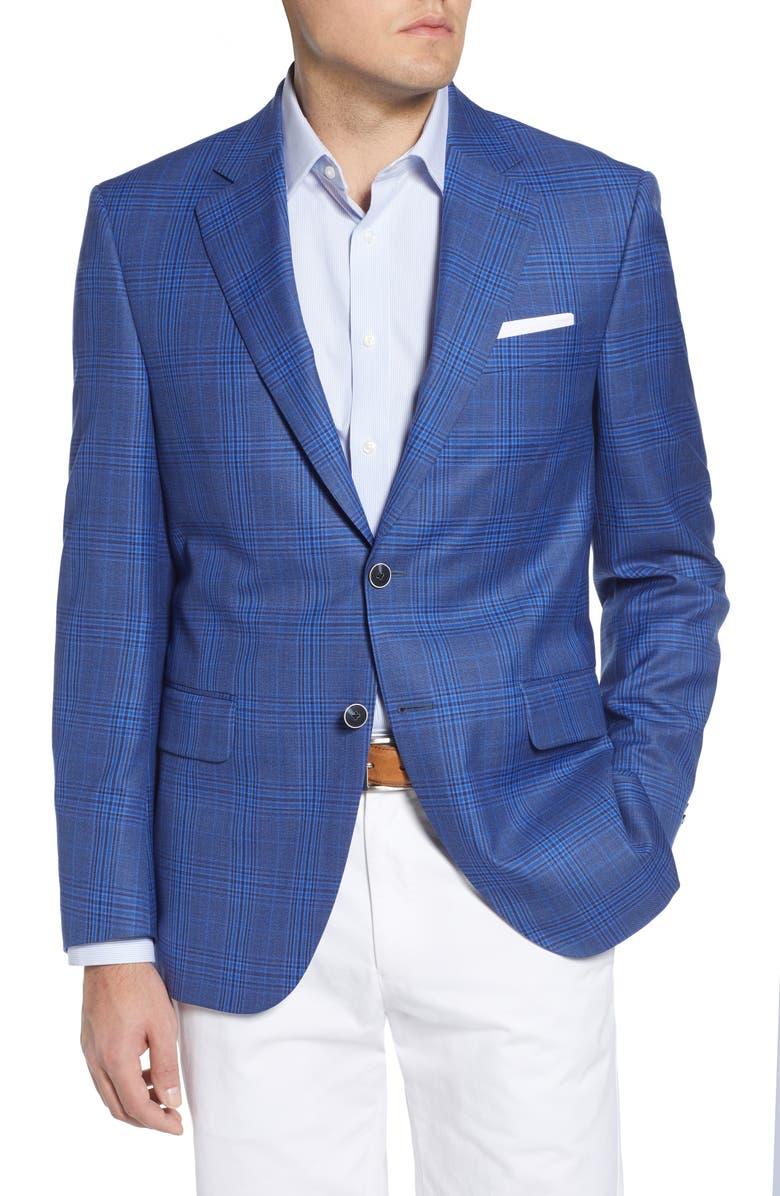 PETER MILLAR Classic Fit Plaid Wool Sport Coat, Main, color, BLUE