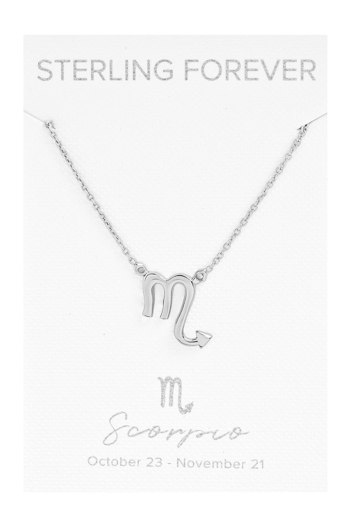 Image of Sterling Forever Rhodium Plated Zodiac Pendant Necklace - Scorpio