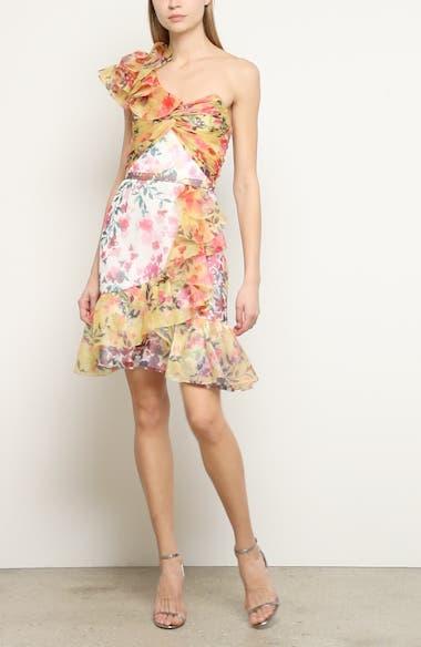 Floral Print One-Shoulder Cocktail Dress, video thumbnail