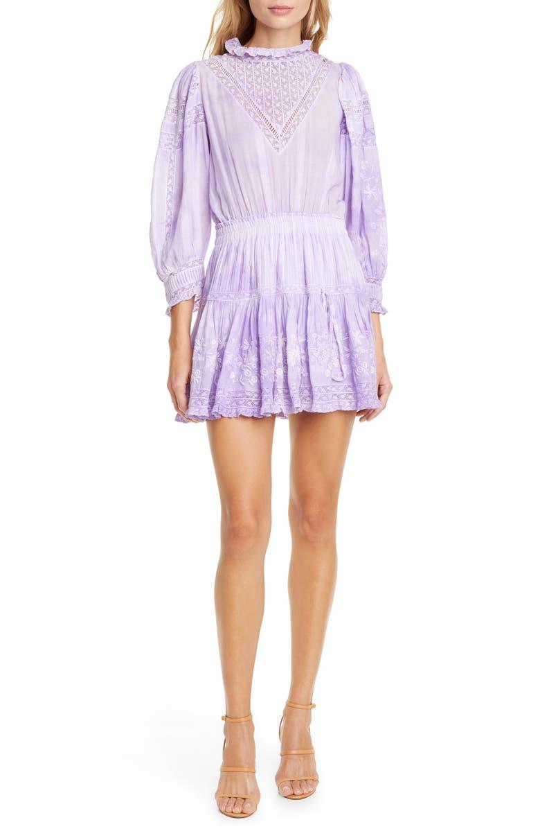 LOVESHACKFANCY Viola Lace Inset Cotton Minidress, Main, color, LAVENDER