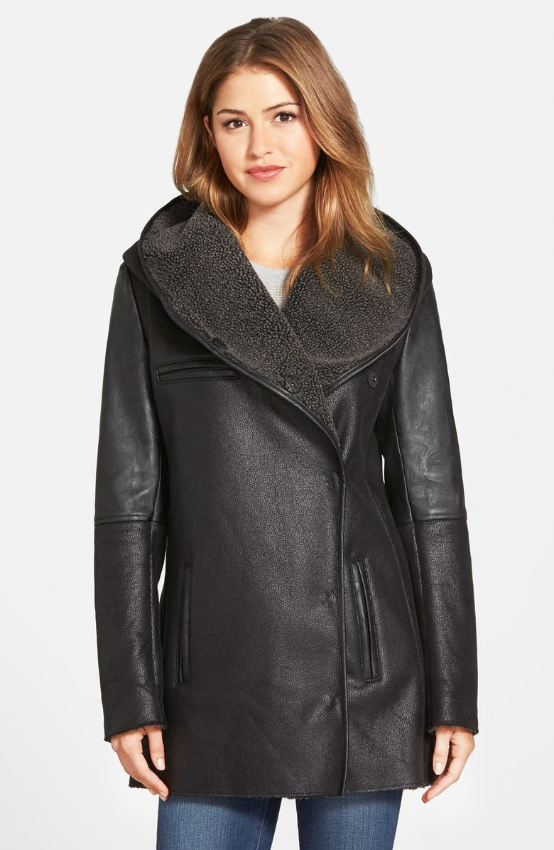 SAM EDELMAN SamEdelman'Sydney'Hooded FauxShearling Coat, Main, color, 001