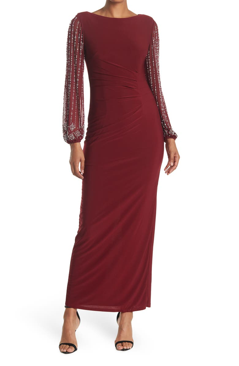 MARINA Beaded Sleeve Maxi Gown, Main, color, EGGPLANT