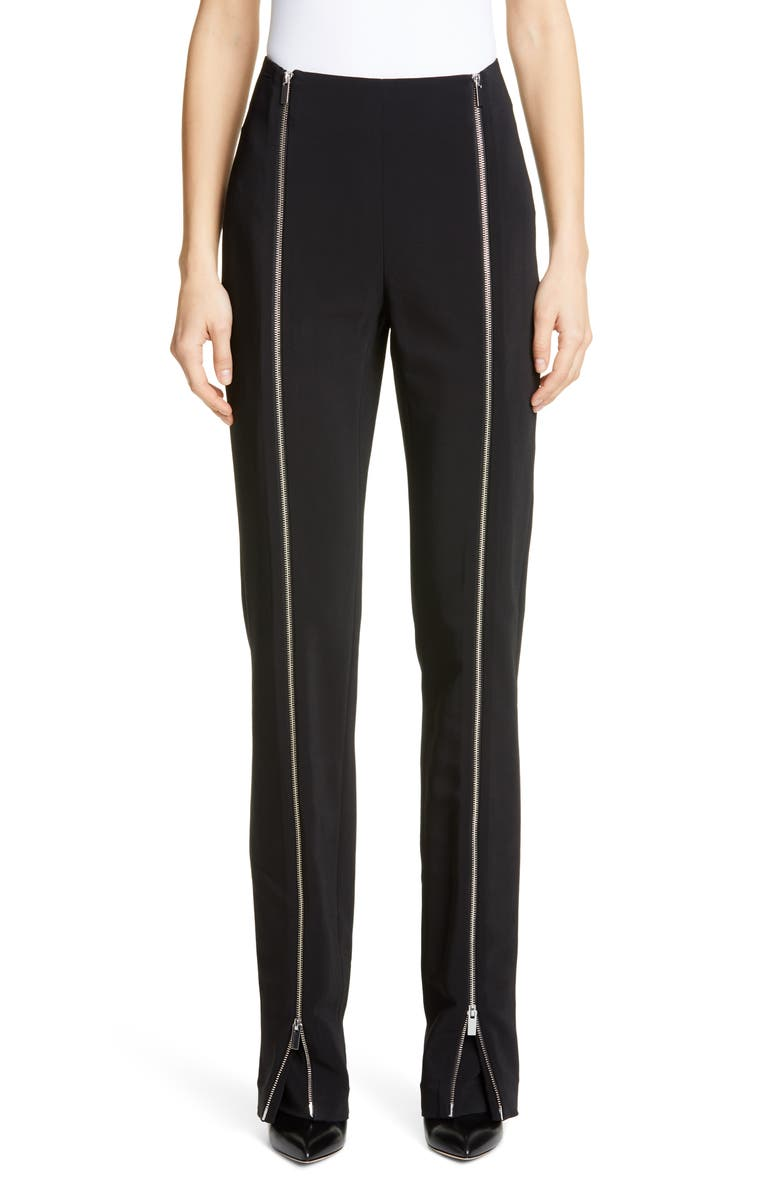 ROSETTA GETTY Zip Detail Stretch Cady Pants, Main, color, BLACK