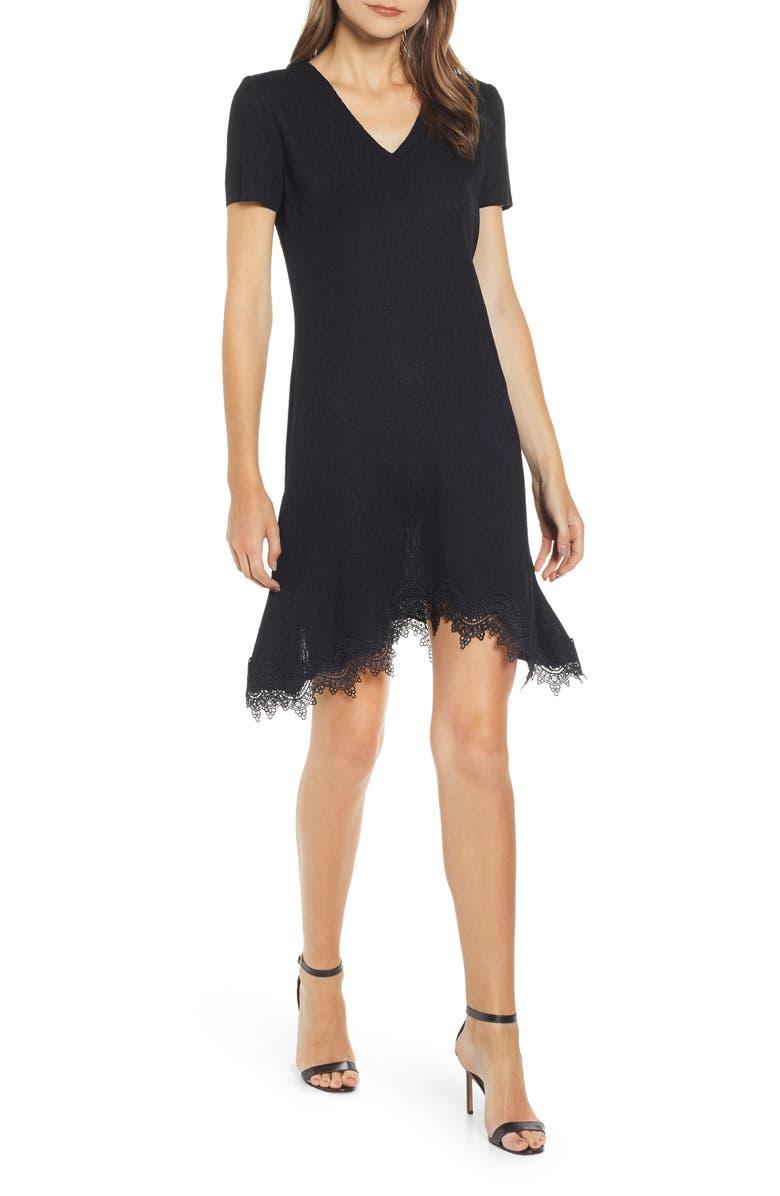 MING WANG Mang Wang Lace Hem Knit Dress, Main, color, BLACK