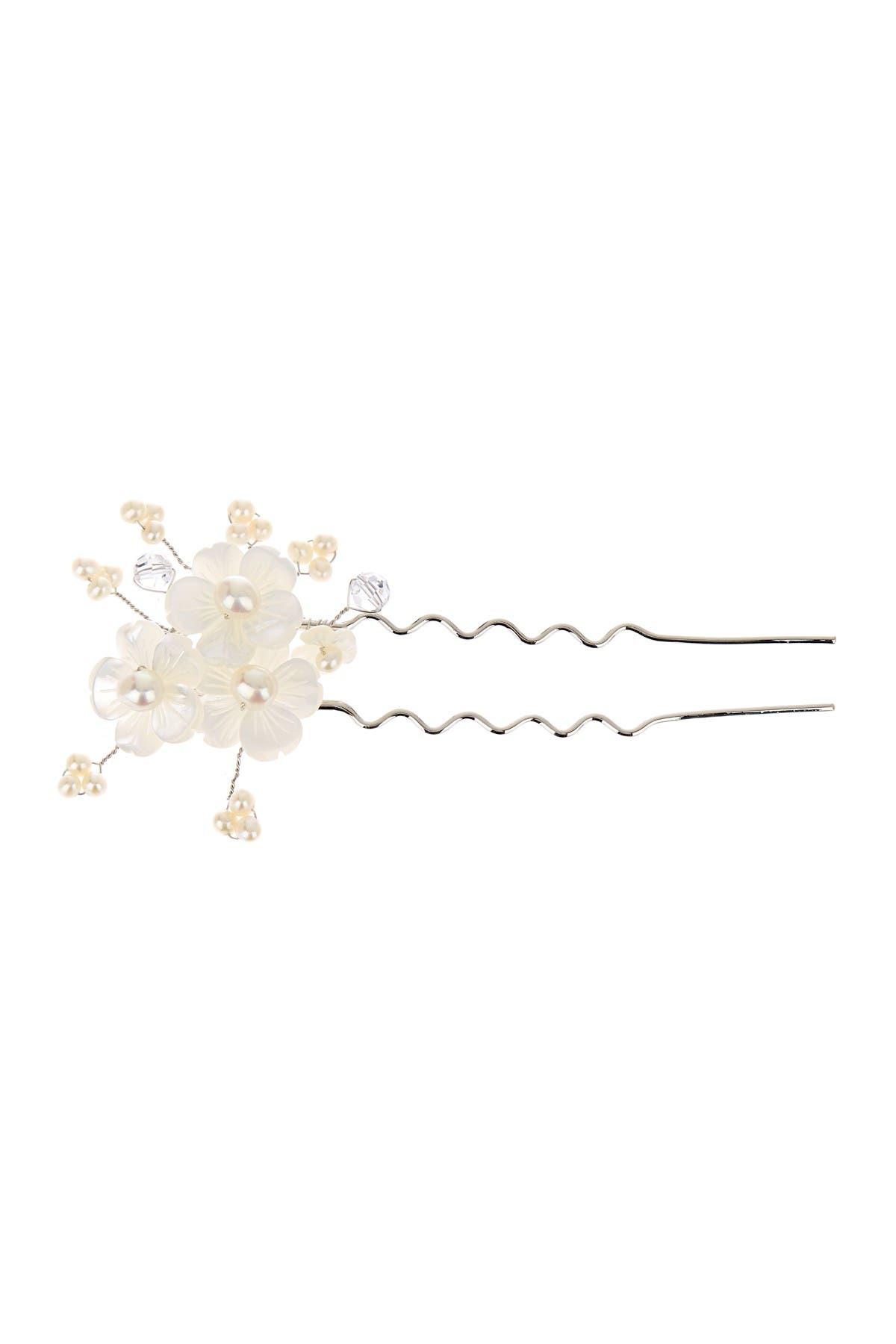 Image of Splendid Pearls Floral 7-8mm Freshwater Pearl Hair Pin