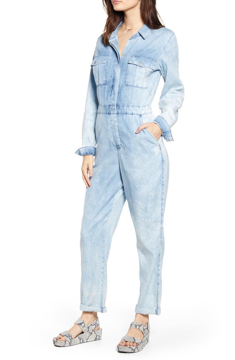 TOPSHOP Denim Acid Wash Jumpsuit, Main, color, 460