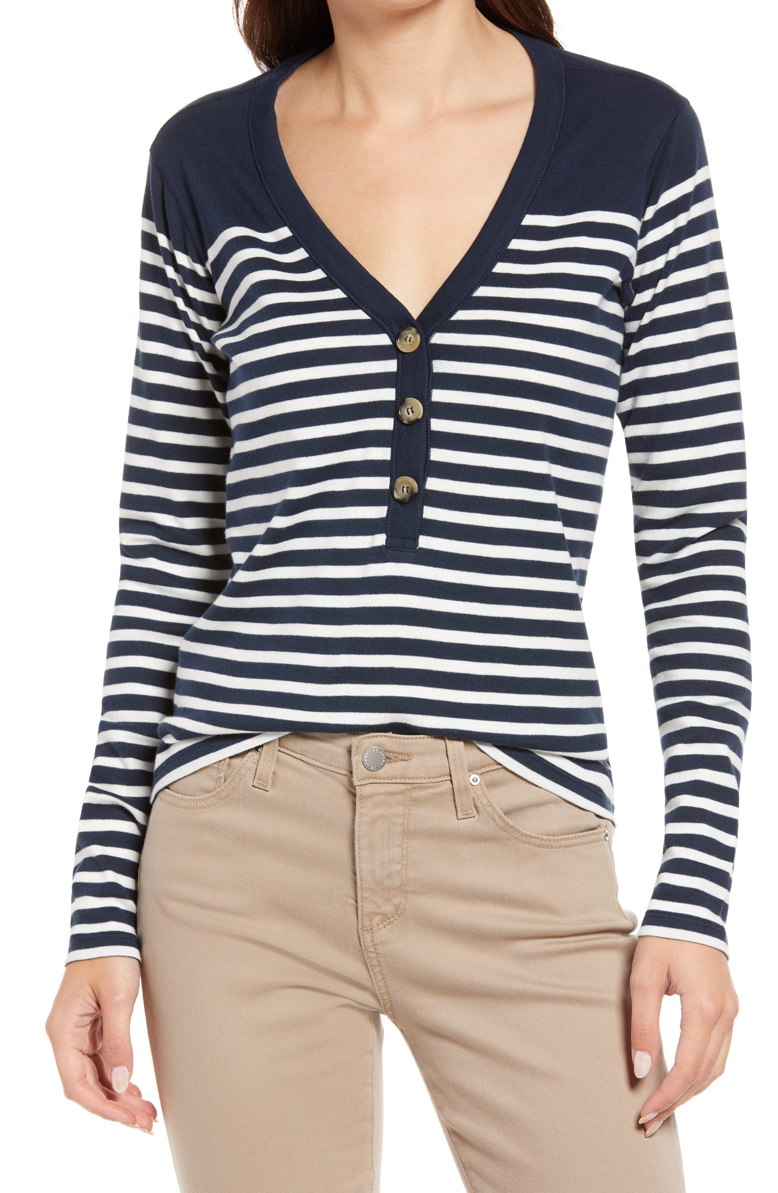 Women'S Charlie Stripe V-Neck Henley Shirt