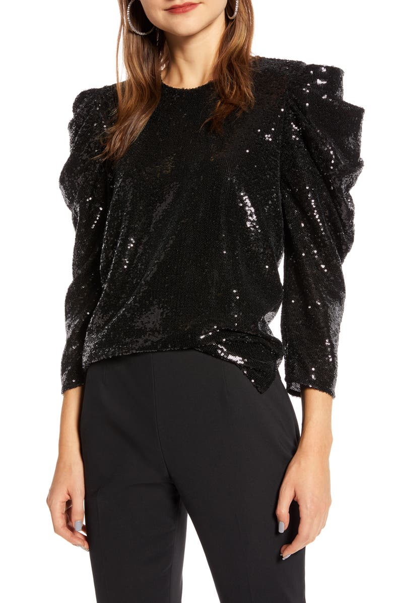 SOMETHING NAVY Sequin Night Out Top, Main, color, BLACK