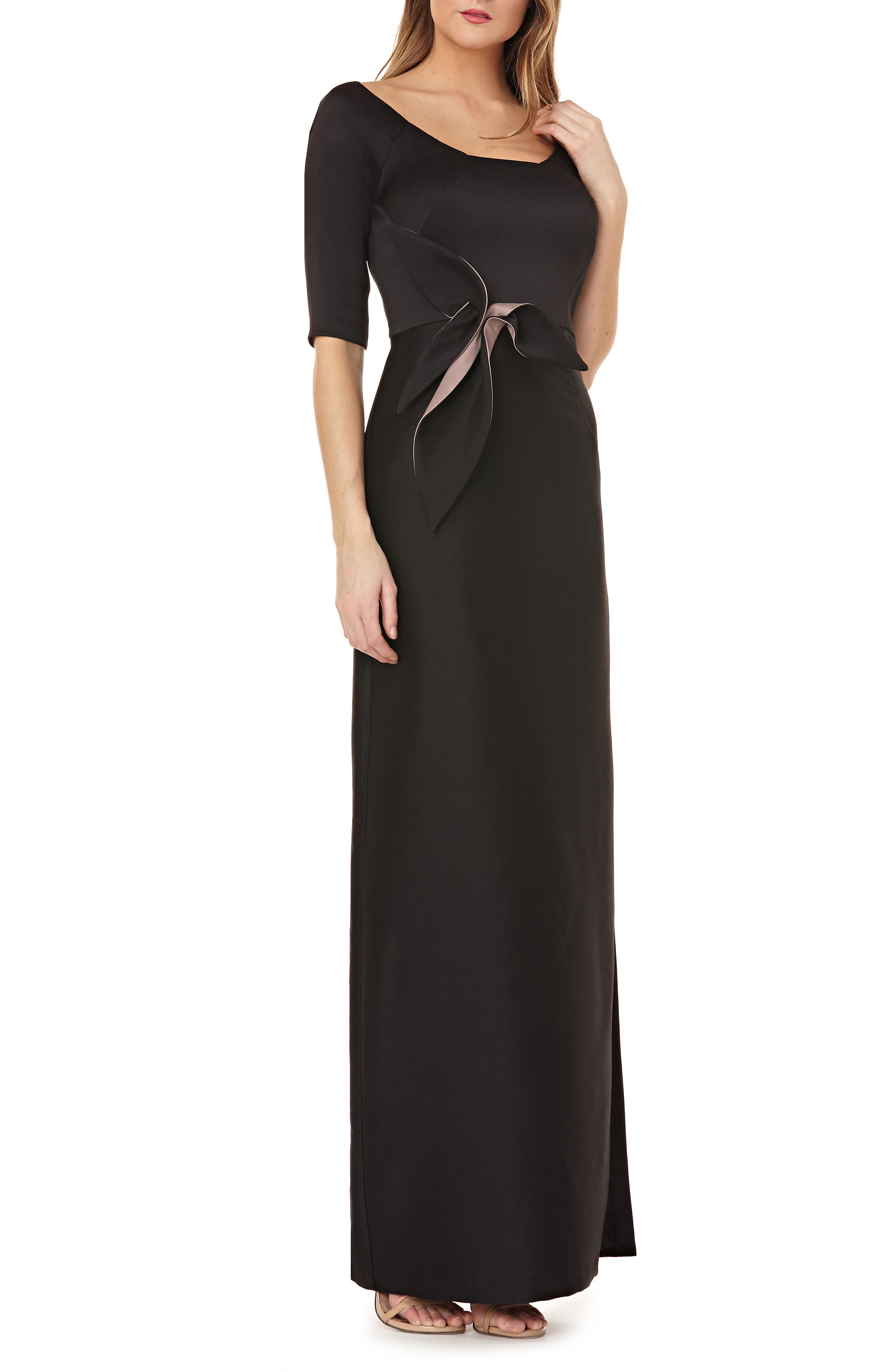 Kay Unger Twist Mikado Column Gown, Black