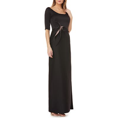 Kay Unger Twist Mikado Column Gown, Black