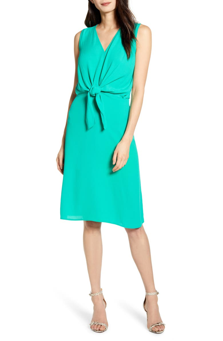 CHELSEA28 Sleeveless Tie Front Dress, Main, color, GREEN EMERALD