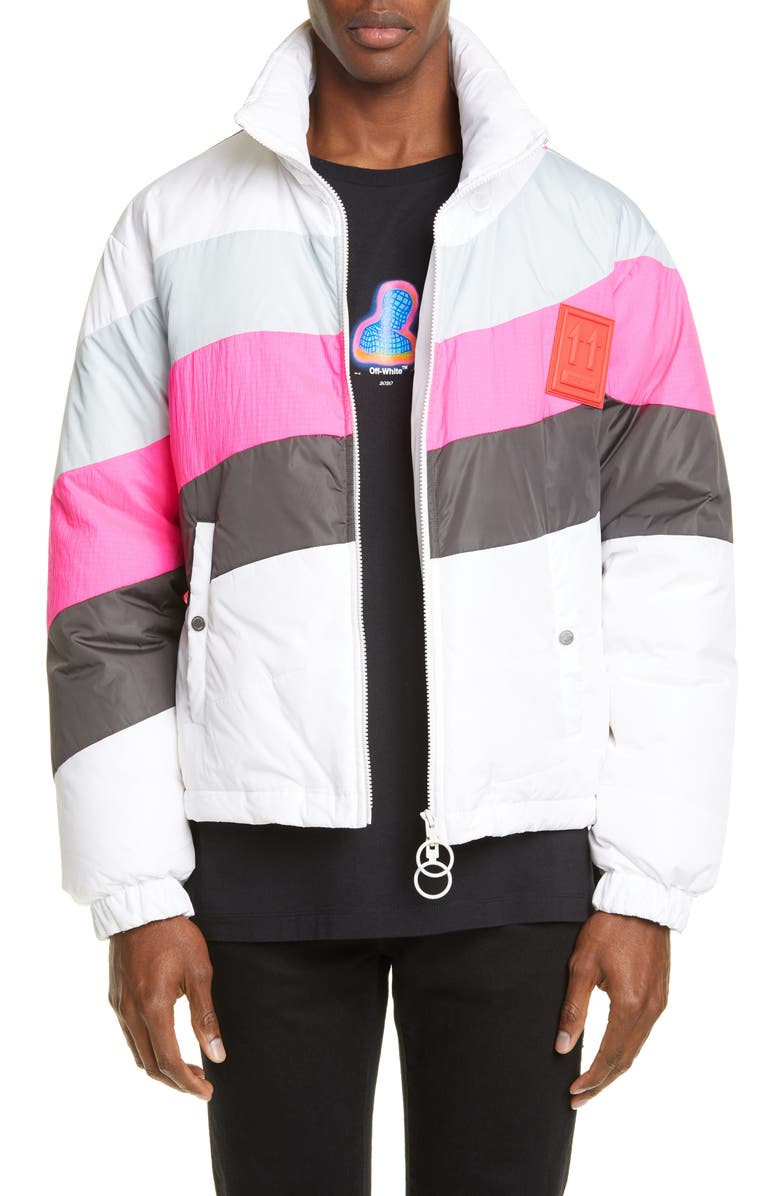 OFF-WHITE Colorblock Nylon Puffer Jacket, Main, color, WHITE LIGHT GREY