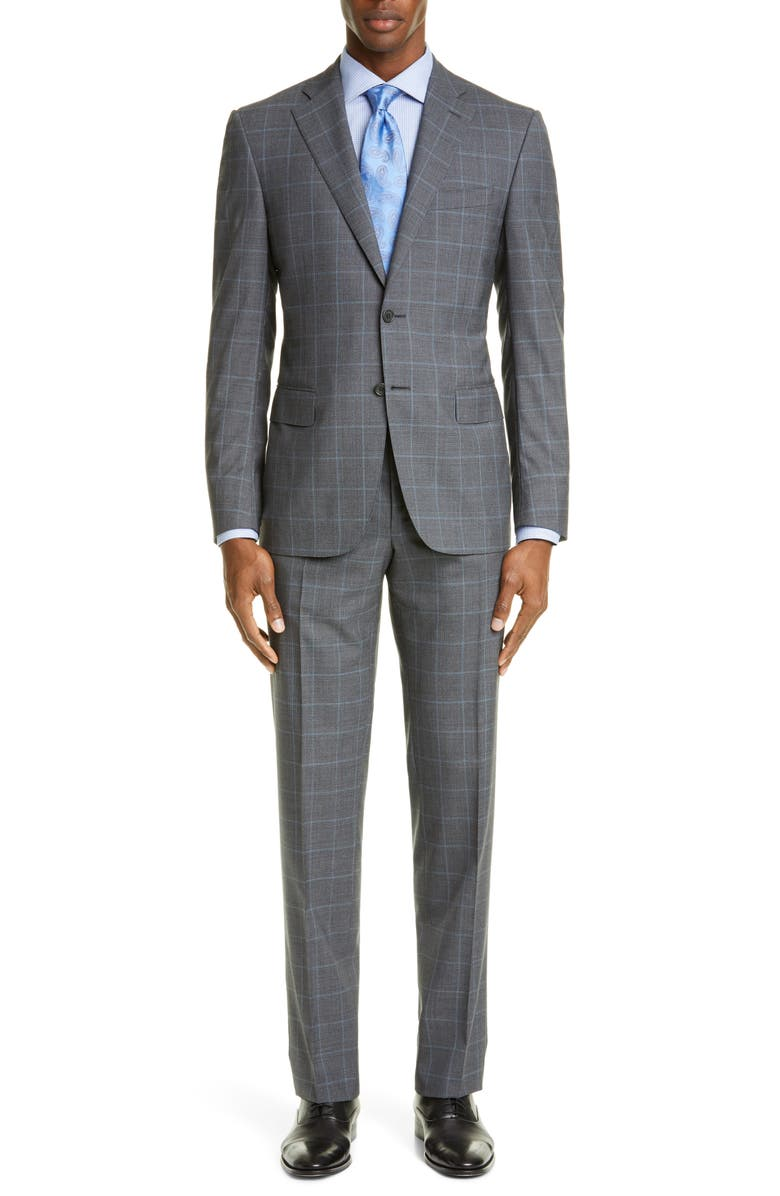CANALI Sienna Soft Classic Fit Plaid Wool Suit, Main, color, CHARCOAL