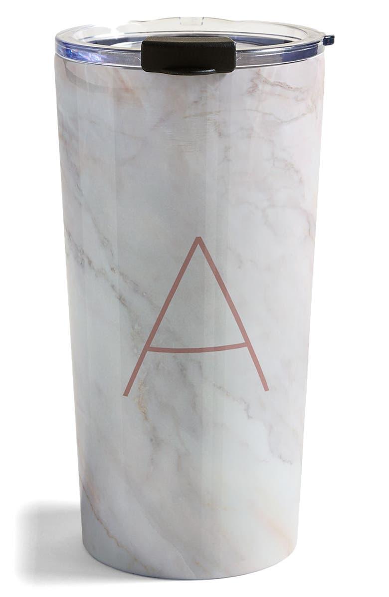 DENY DESIGNS Marbled Monogram Travel Mug, Main, color, A