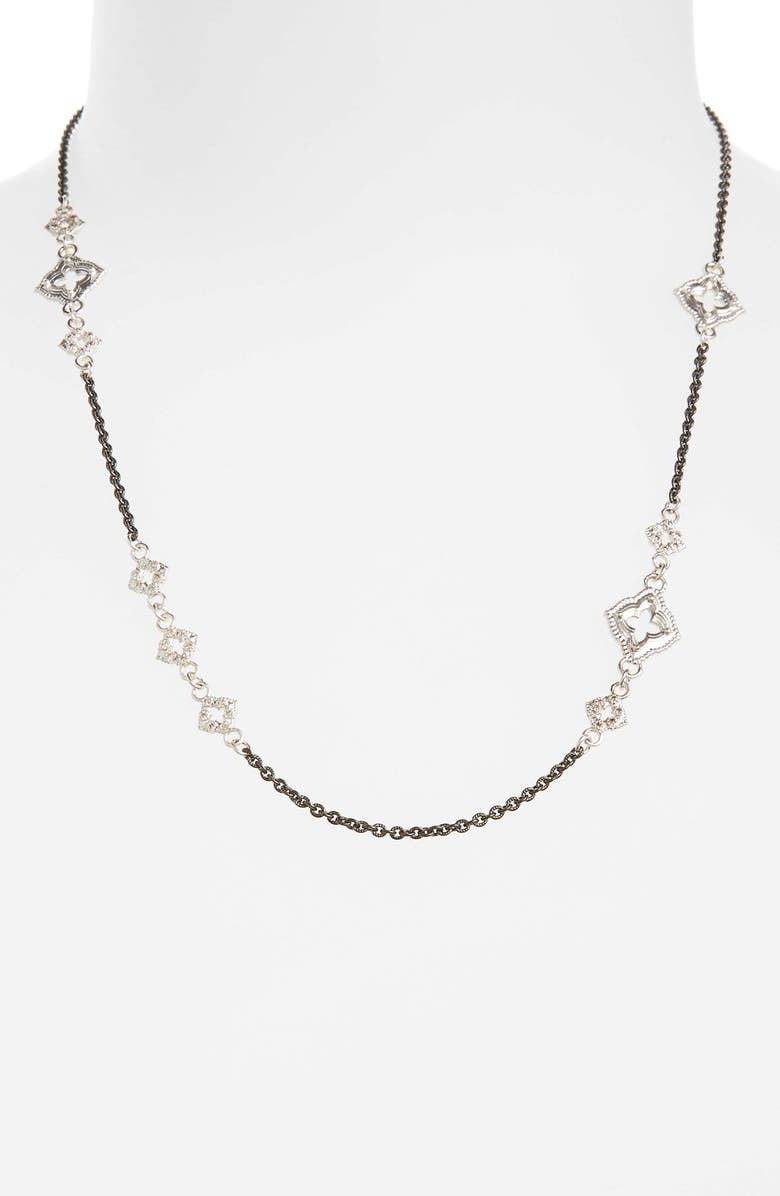 ARMENTA New World Chain Scroll Station Necklace, Main, color, CHAMPAGNE/ BLACK