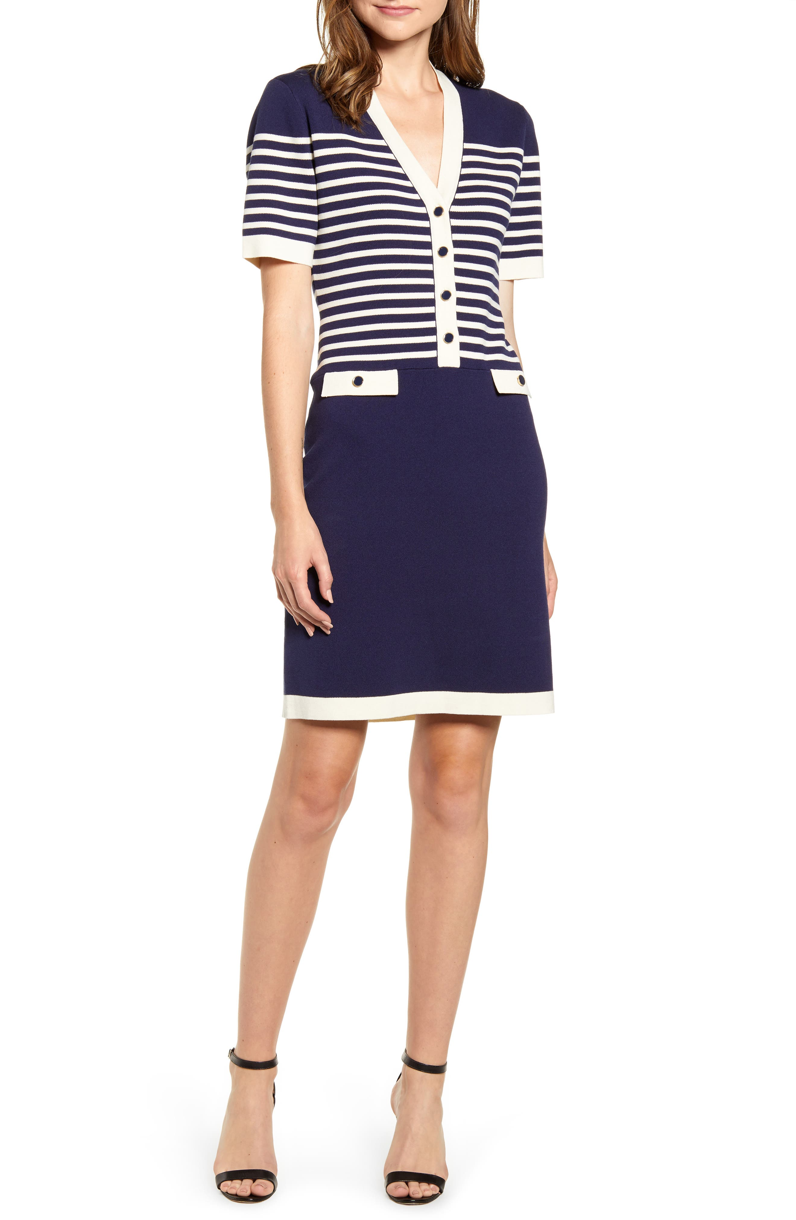 Anne Klein Stripe Colorblock Cotton Blend Sweater Dress, Blue
