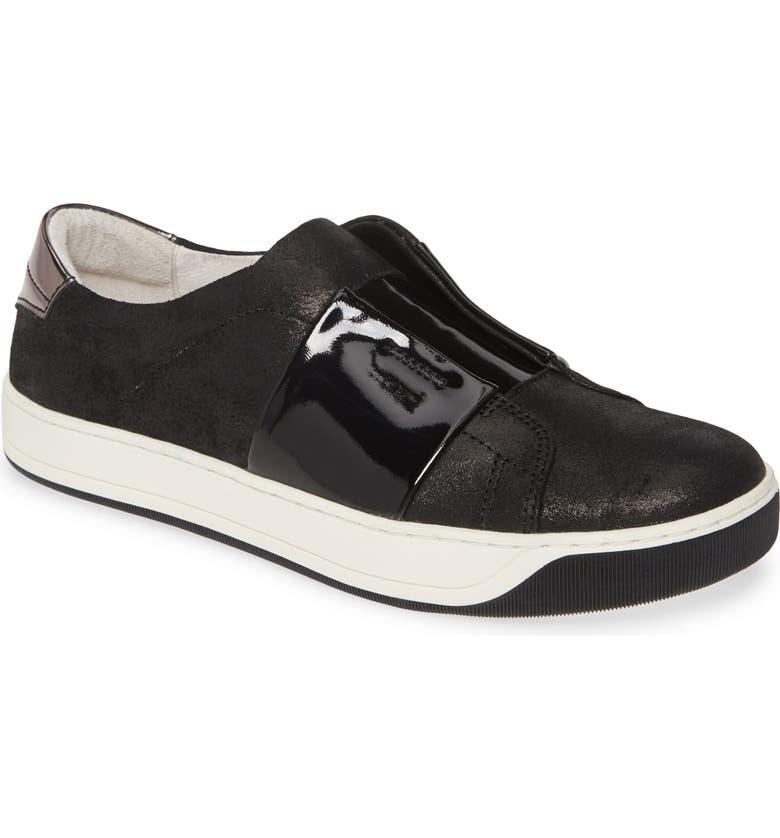 JOHNSTON & MURPHY Eden Slip-On Sneaker, Main, color, BLACK METALLIC SUEDE/ PATENT